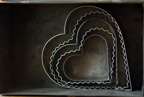 Heart-shaped baking moulds