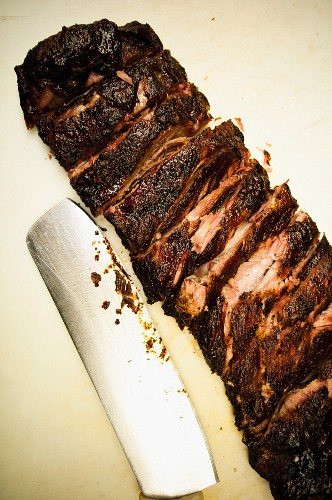 Barbeque Brisket and Carving Knife