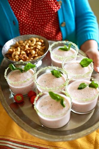 A strawberry lassi