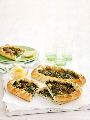 Spicy lamb and spinach Pide