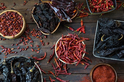 Assortment of Dried Hot Peppers, High Angle View