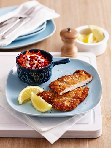A turkey escalope with a mustard-breadcrumb coating and salad