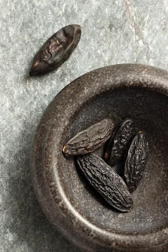 Tonka beans in a mortar