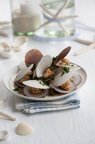 Cooked scallops with fried parsley