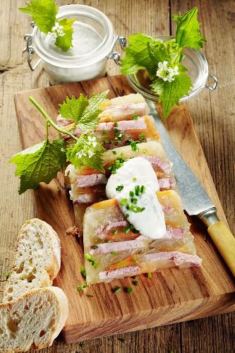 Sauerfleisch (spiced pork dish from Schleswig-Holstein) with a wild herb dip