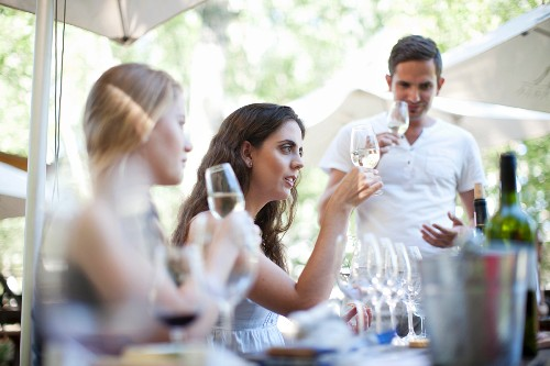 An outdoor wine tasting session