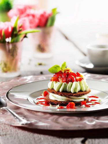 Strawberry and basil tiramisu