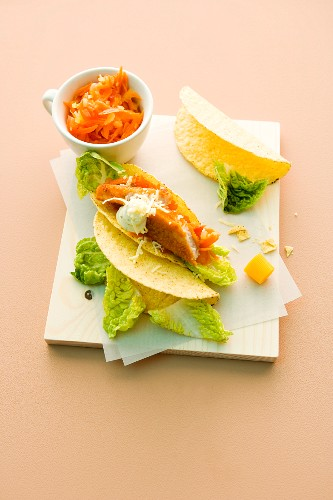 Taco shells with fish fingers