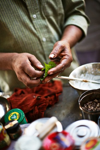 Betel leaves at a street market in Mumbai, India
