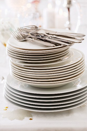 A large stack of plates