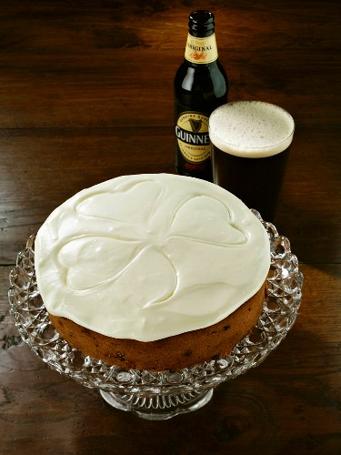 A whole Irish fruit cake and a pint of Guinness