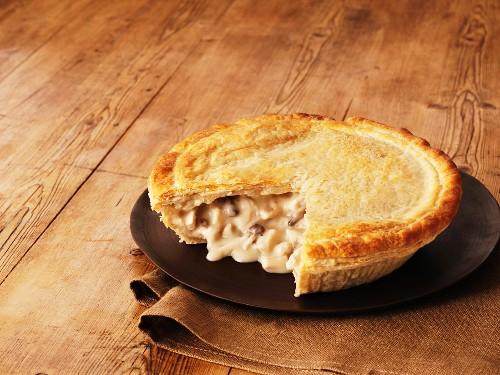 Chicken and mushroom pie, sliced