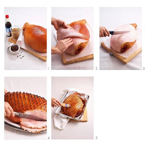 Glazed roast ham being made