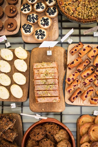 Cakes and pastries in a bakery