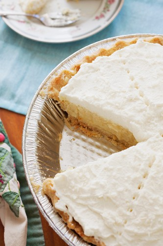 Coconut Cream Pie with a Slice Removed; Close Up