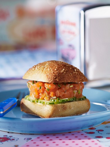 A salmon tartar and cucumber burger