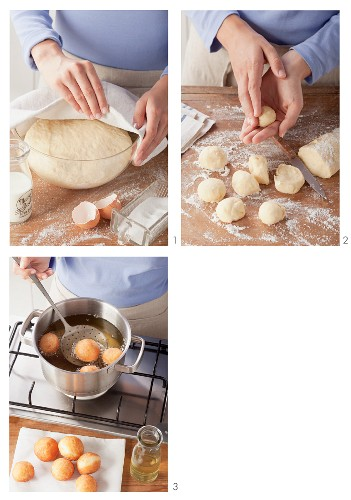 Doughnut yeast dough cake pops being made