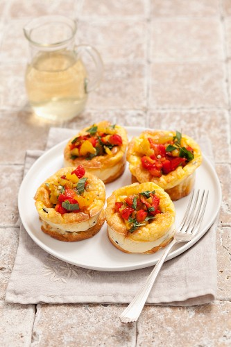 Goats cheese flans with roasted peppers
