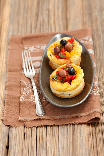 Goat's cheese flans with roasted peppers