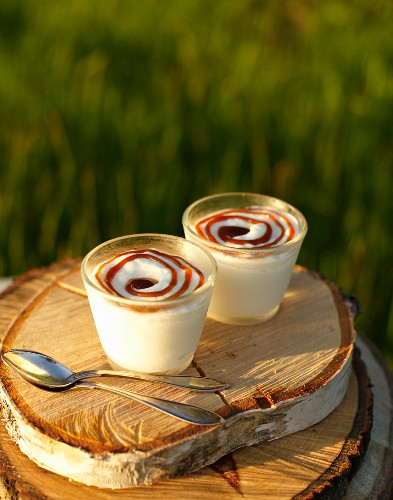 An iced dessert with birch syrup