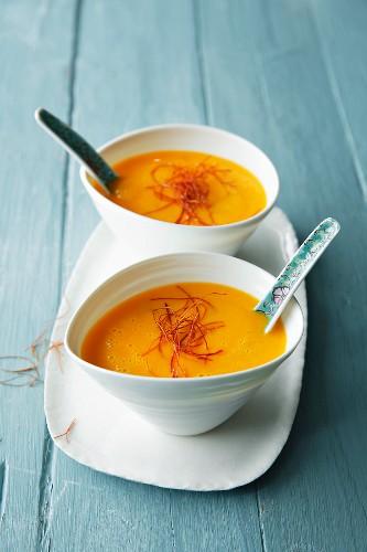 Pumpkin soup with coconut and saffron