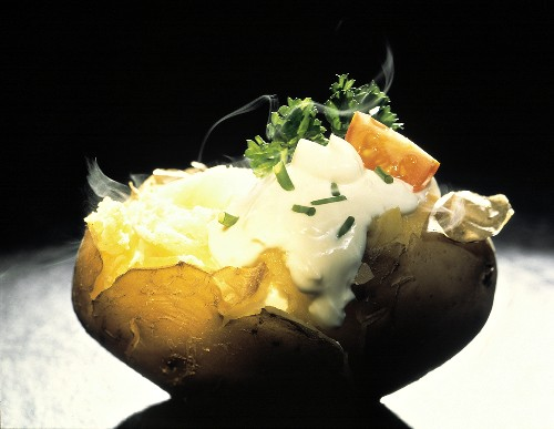 Steaming Jacket Potato with Sour Cream & Chives