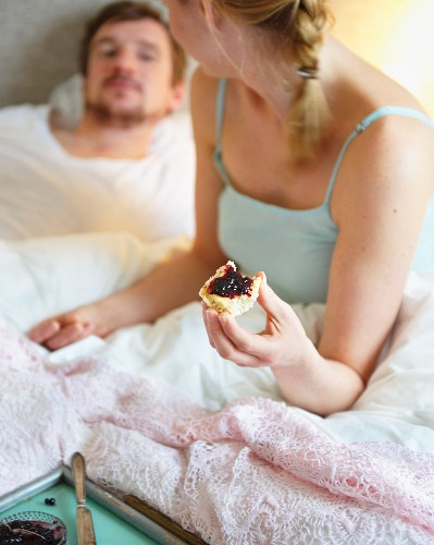 Breakfast in bed with sunflower seed and cheese scones with blueberry jam