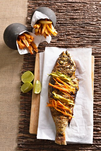 Grilled chermoula silver salmon with chips