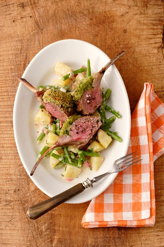 Salt meadow lamb with a herb crust