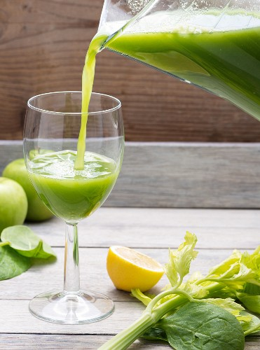 Freshly pressed apple and celery juice