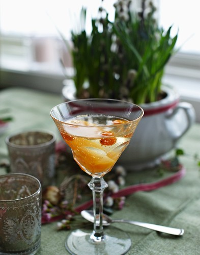 Sea-buckthorn sorbet with apple wine for Mother's Day