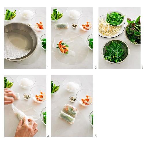 Vietnamese summer rolls with prawns being made