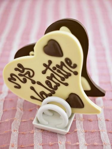 Chocolate hearts with writing