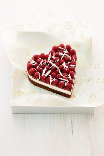 A heart-shaped raspberry cake