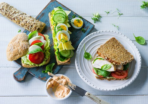 ADHD food: various types of bread with healthy toppings and fillings