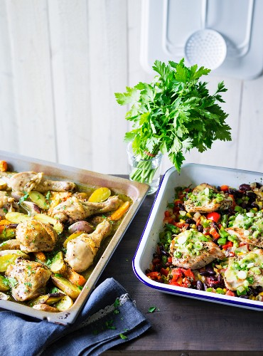 ADhD food: two types of oven-roasted chicken with vegetables