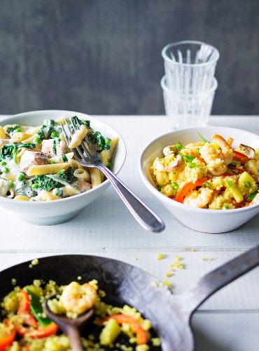 ADHD food: pasta with salmon and fried quinoa with prawns