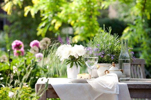 Slice of cake, a glass of water and a sugar pot on a garden table