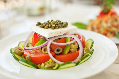 Greek salad in a cafe in South Beach, Miami, Florida