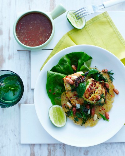 Grilled Hanoi-style fish with salad and herbs