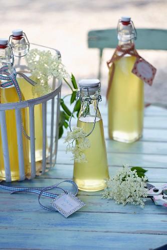 Elderflower syrup in flip-top bottles