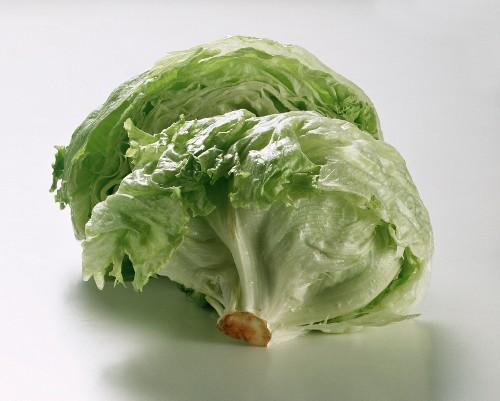 A Head of Iceberg Lettuce Cut in Half
