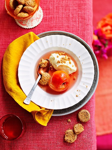 Poached peaches with quark cream and Amaretti biscuits