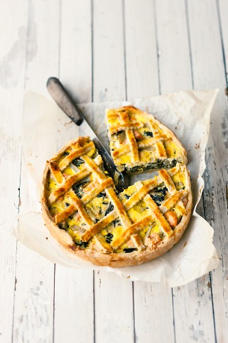 Chard quiche with salmon