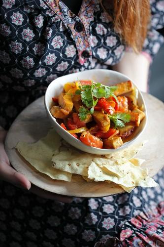 Tofu jalfrezi (Indian curry)