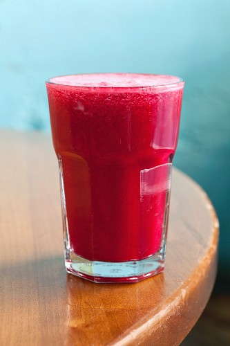 A berry smoothie made with cranberry juice