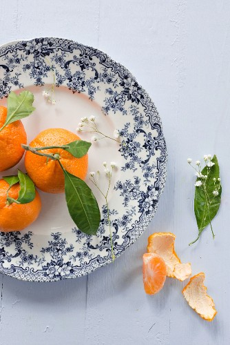Mandarins on a floral patterned plate