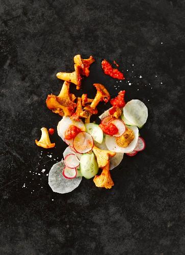Chanterelle mushrooms with sliced radish and horseradish, cucumber and red pesto