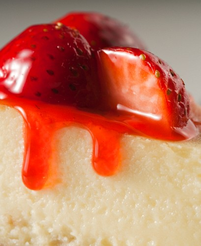 Strawberries on a cheesecake (close-up)