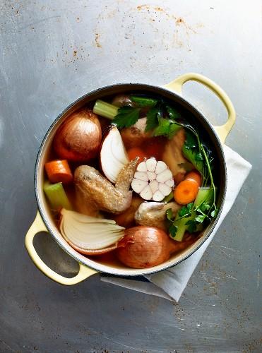 A pot of chicken stock